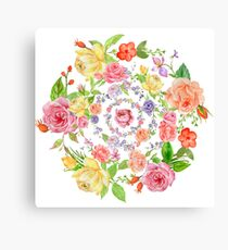 Bouquet of PINK, YELLOW AND ORANGE rose - wreath Canvas Print