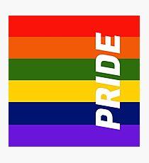 Rainbow Stripes with Pride LGBTQ+ Photographic Print
