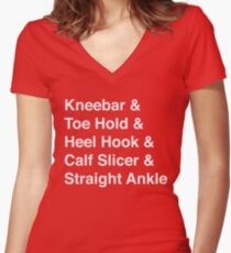 BJJ Leg Lock Helvetica List Women's Fitted V-Neck T-Shirt