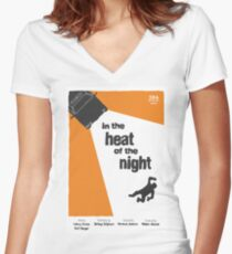 In The Heat Of The Night Saul Bass style poster  Women's Fitted V-Neck T-Shirt