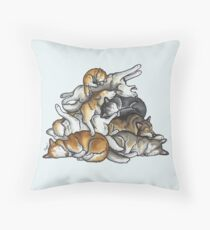 Sleeping pile of Siberian Huskies Throw Pillow