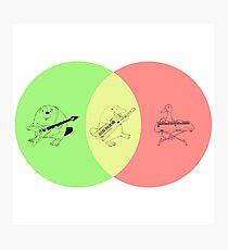 Keytar Platypus Venn Diagram - Green Photographic Print