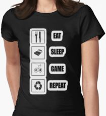 eat sleep game repeat Womens Fitted T-Shirt