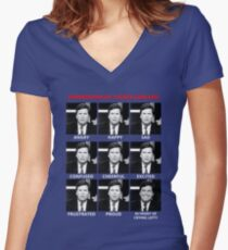 The Expressions of Tucker Carlson Women's Fitted V-Neck T-Shirt
