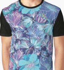 Vector Indigo Flower Pattern Graphic T-Shirt