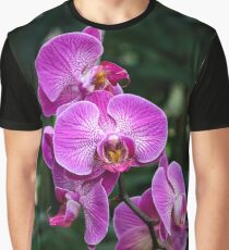 Pink Orchid Flowers Graphic T-Shirt
