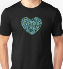 The Bike Heart - Lime Green and Blue Bicycles Unisex T-Shirt