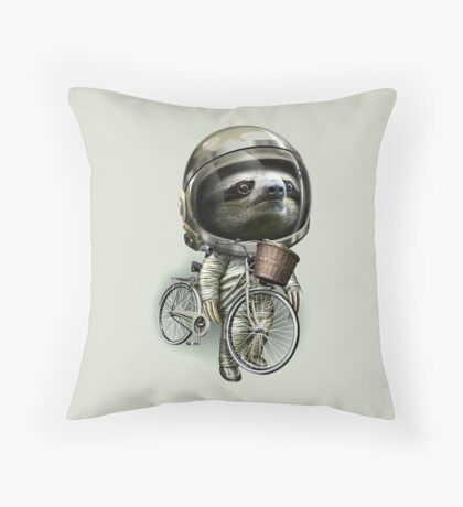 WITH MY BIKE ALONG Throw Pillow