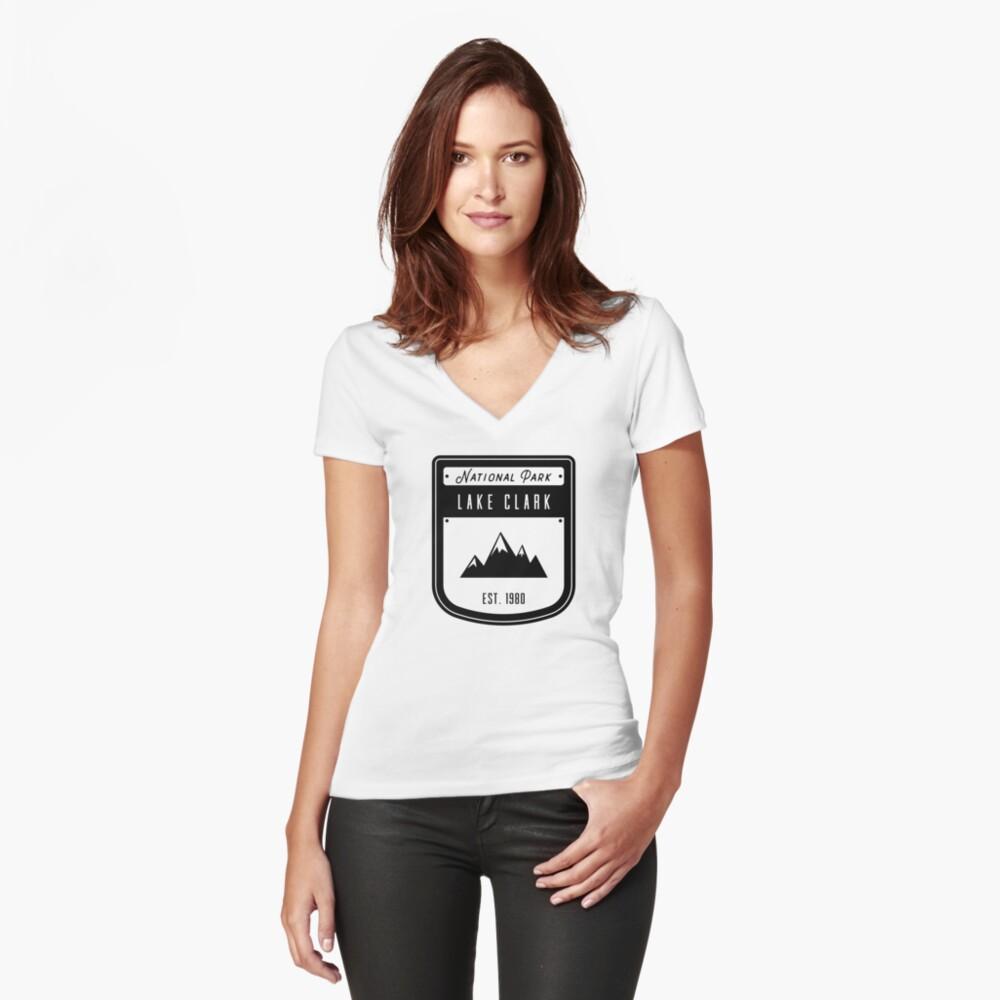 Lake Clark Alaska National Park Badge Design Women's Fitted V-Neck T-Shirt Front
