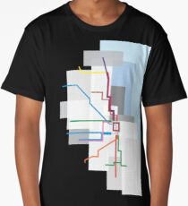 Chicago Transit Map Lake Long T-Shirt