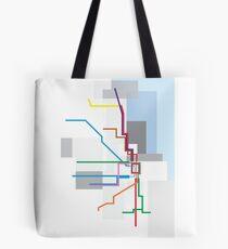Chicago Transit Map Lake Tote Bag