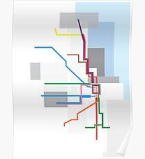 Chicago Transit Map Lake Poster