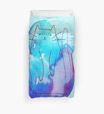 Ombre Purple Blue Watercolor Cat Duvet Cover