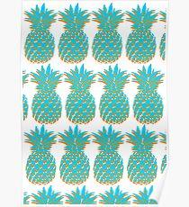 Blue & Orange Pineapple Poster