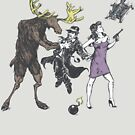 Moose and Squirrel Fight Crime by wytrab8