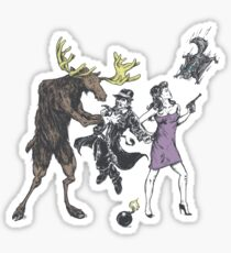 Moose and Squirrel Fight Crime Sticker