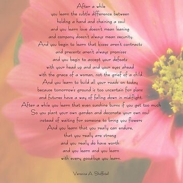 After A While Poem With Flower Background Long T Shirt