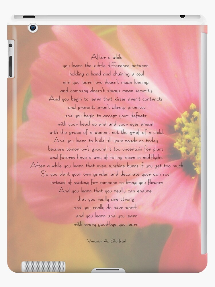 After A While Poem With Flower Background Ipad Caseskin By Debsdesigns