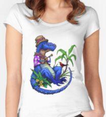 T Rex Loves Ukulele Women's Fitted Scoop T-Shirt