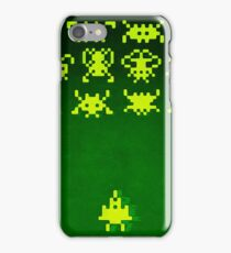 Space invaders (painting - yellow on green) iPhone Case/Skin