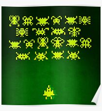 Space invaders (painting - yellow on green) Poster