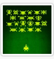 Space invaders (painting - yellow on green) Sticker
