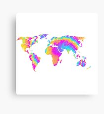 Tie Dye Map of the World Canvas Print