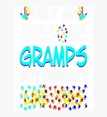 Awesome Gramps Gets Handprints Like This Autism T-Shirt  Photographic Print