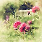 Pink Peonies In A Vintage Garden by Lois  Bryan