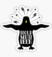 Funny animal angry penguin hold muh beer Sticker
