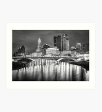 Columbus Ohio Downtown Skyline in Black and White Art Print