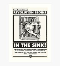 Men and Boys: Revolution Begins in the Sink! (IWW Vector Recreation, Proceeds to IWW) Art Print