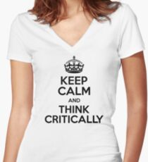 Critical Thinking Women's Fitted V-Neck T-Shirt
