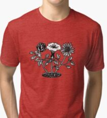 black and white floral Tri-blend T-Shirt