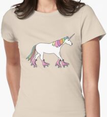 roller skating unicorn Womens Fitted T-Shirt