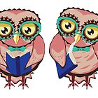 Curious Owl in Teal Glasses by AnnArtshock