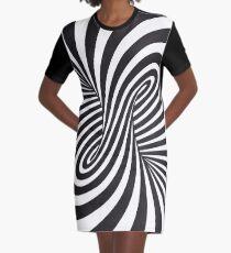 Spiral B&W Graphic T-Shirt Dress
