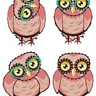 Curious Owl in Teal Glasses 2 by AnnArtshock