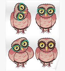 Curious Owl in Teal Glasses 2 Poster