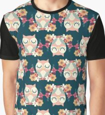 Floral Owl Surface Pattern Design Graphic T-Shirt