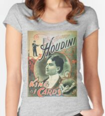 Houdini, king of cards, vintage theater poster Women's Fitted Scoop T-Shirt