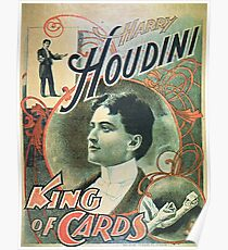 Houdini, king of cards, vintage theater poster Poster