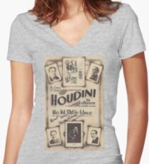 Houdini, magic, vintage theater poster - B&W Women's Fitted V-Neck T-Shirt