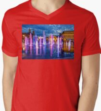 Fountains of the Post Square in Kyiv Mens V-Neck T-Shirt