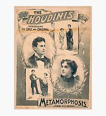 Houdini, Metamorphosis, vintage theater poster - B&W Photographic Print