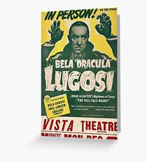 Dracula, vintage horror theater, movie poster Greeting Card