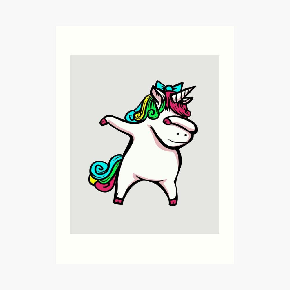 Dabbing Unicorn Girl Art Print By Milehightees Redbubble