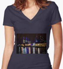 Central Pier, Docklands, Melbourne, Australia. Women's Fitted V-Neck T-Shirt