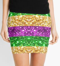 Mardi Gras Glitter Stripes   Mini Skirt