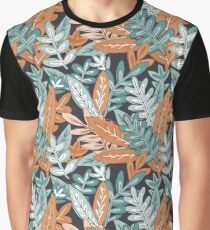 Matte Tropical Jungle Greenery Pattern on Black Graphic T-Shirt